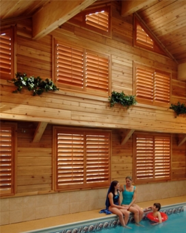 Stained Wood Plantation Shutters